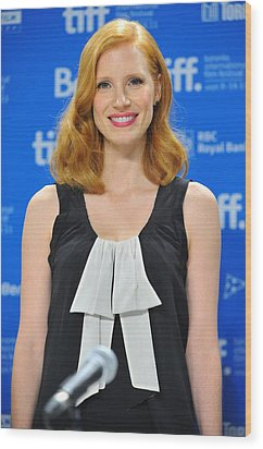 Jessica Chastain At The Press Wood Print by Everett