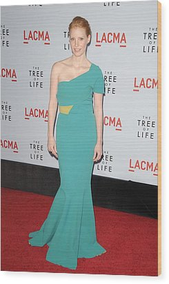 Jessica Chastain Wearing A Dress Wood Print by Everett