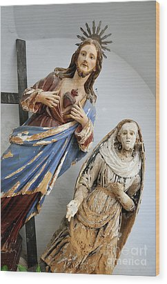 Jesus Christ And Saint Statues In Church Wood Print by Sami Sarkis