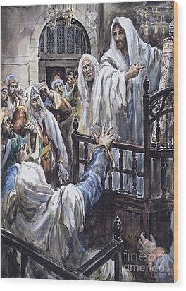 Jesus  Wood Print by Henry Coller