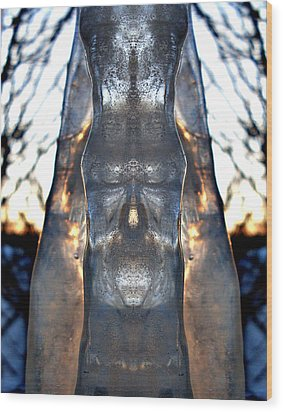 Jesus In An Icicle Wood Print by Wesley Hahn