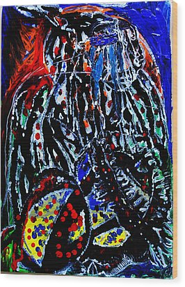Wood Print featuring the painting Jesus Meets Mary On Calvary by Gloria Ssali