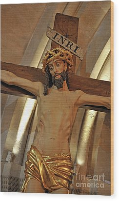 Jesus On Cross Wood Print by Sami Sarkis
