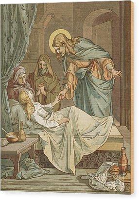 Jesus Raising Jairus's Daughter Wood Print by John Lawson