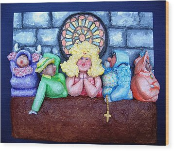 Jesus Save Us. The Devil Has Come To Church Wood Print by Alison  Galvan