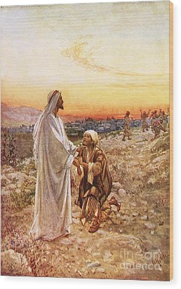Jesus Withe The One Leper Who Returned To Give Thanks Wood Print by William Brassey Hole