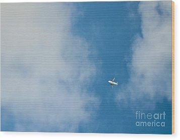 Jet Airplane In Flight Wood Print by Eddy Joaquim