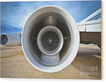 Jet Engine Wood Print by Eddy Joaquim