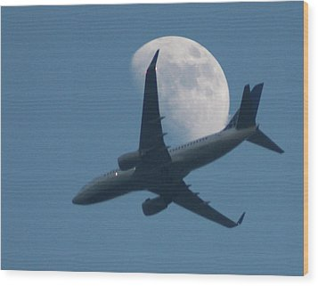 Jet In Front Of Moon Wood Print by KM&G-Morris