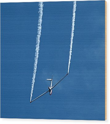 Jet Powered Glider Wood Print by Nick Kloepping