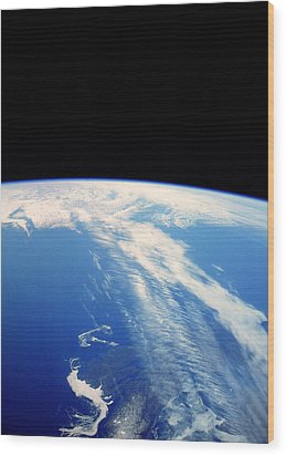 Jet Stream Clouds Wood Print by Nasa