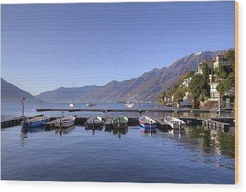 jetty in Ascona Wood Print by Joana Kruse