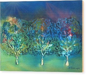 Wood Print featuring the mixed media Jeweled Trees by Arline Wagner