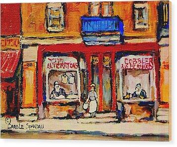 Jewish Montreal Vintage City Scenes De Bullion Street Cobbler Wood Print by Carole Spandau