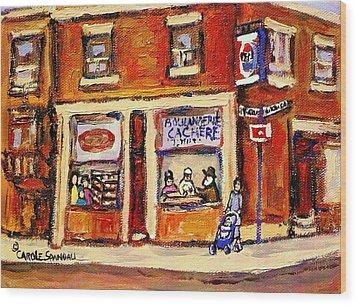 Jewish Montreal Vintage City Scenes Hutchison Street Butcher Shop  Wood Print by Carole Spandau