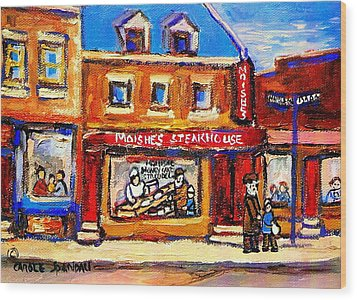 Jewish Montreal Vintage City Scenes Moishes St. Lawrence Street Wood Print by Carole Spandau