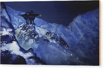 Jhinza Temple In The Mountains Wood Print by Scott Harris