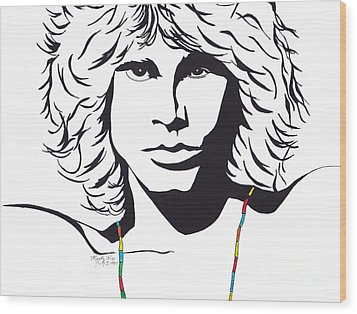 Jim Morrison Wood Print by Marty Rice