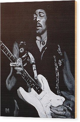Jimi Hendrix Wood Print by Pete Maier