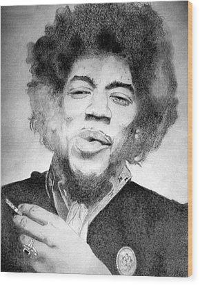 Jimi Hendrix - Small Wood Print by Robert Lance