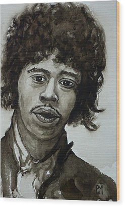 Jimi Wood Print by Pete Maier