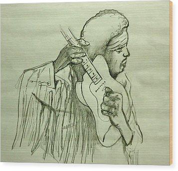 Jimi Sketch Wood Print by Pete Maier