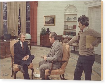 Jimmy Carter Prepares For An Interview Wood Print by Everett