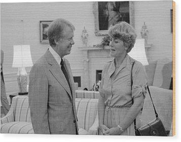 Jimmy Carter With Congresswoman Wood Print by Everett