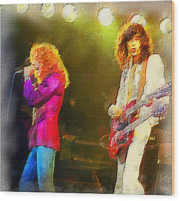 Jimmy Page And Robert Plant Wood Print by Galeria Zullian  Trompiz