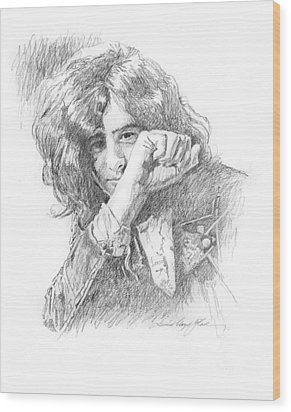 Jimmy Page In Person Wood Print by David Lloyd Glover