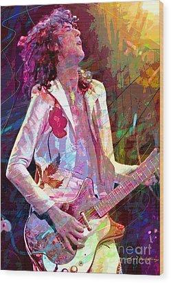 Jimmy Page Led Zep Wood Print by David Lloyd Glover