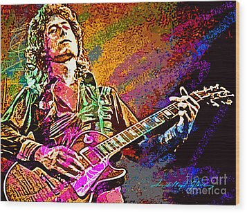 Jimmy Page Les Paul Gibson Wood Print by David Lloyd Glover