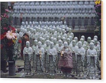 Jizo Statues At Hase-dera Temple Wood Print by Ei Katsumata