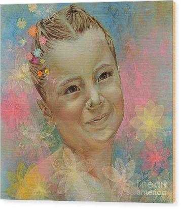 Joana's Portrait Wood Print by Karina Llergo