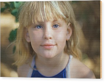 Portrait Of A Young Girl Wood Print by Mark Greenberg