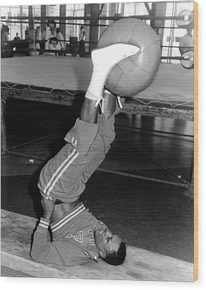 Joe Frazier In Training At The Concord Wood Print by Everett