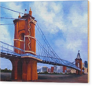 Wood Print featuring the painting John A. Roebling Bridge by Suzzanna Frank