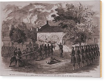 John Browns Insurrection.   While Wood Print by Everett