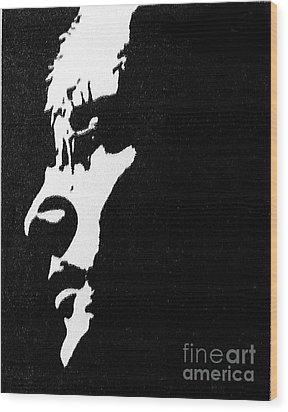 John Lennon Hi Contrast Wood Print by Kenneth Regan