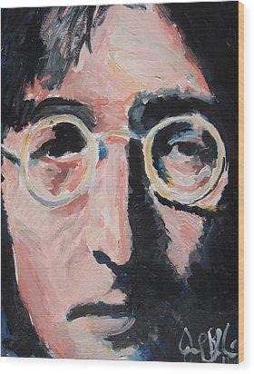 John Lennon  Wood Print by Jon Baldwin  Art