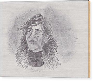 Wood Print featuring the drawing John Lennon- Legend by Chris  DelVecchio