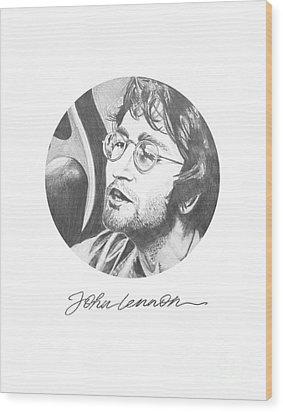 John Lennon Wood Print by Deer Devil Designs