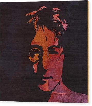 John Lennon Watercolor Wood Print by Steve K