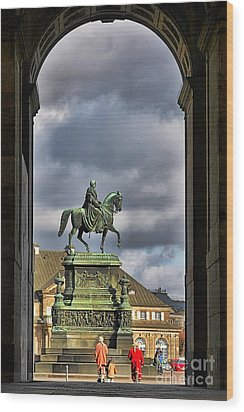 John Of Saxony Monument - Dresden Theatre Square Wood Print by Christine Till