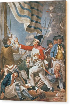 John Paul Jones Shooting A Sailor Who Had Attempted To Strike His Colours In An Engagement Wood Print by John Collet