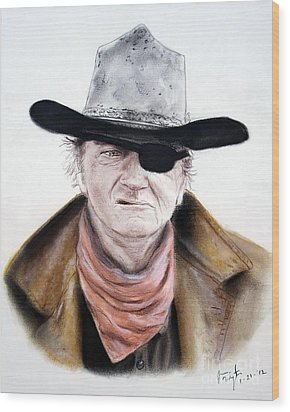 Wood Print featuring the pastel John Wayne  by Jim Fitzpatrick
