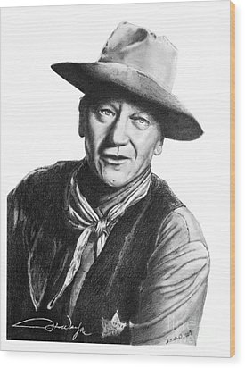 John Wayne  Sheriff Wood Print by Marianne NANA Betts
