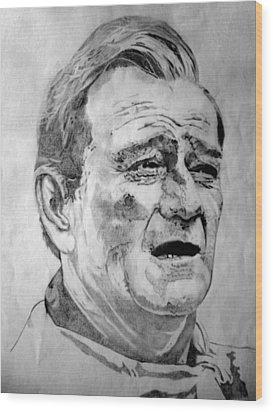 John Wayne - Small Wood Print by Robert Lance