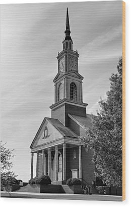 John Wesley Raley Chapel Black And White Wood Print by Ricky Barnard