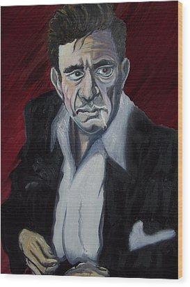 Johnny Cash Wood Print by David Fossaceca